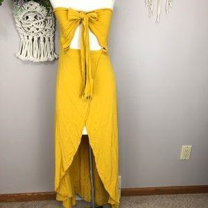 Lulu's Small marigold wrap around halter dress